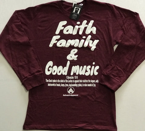 Faith Family Good Music  Burgundy/White