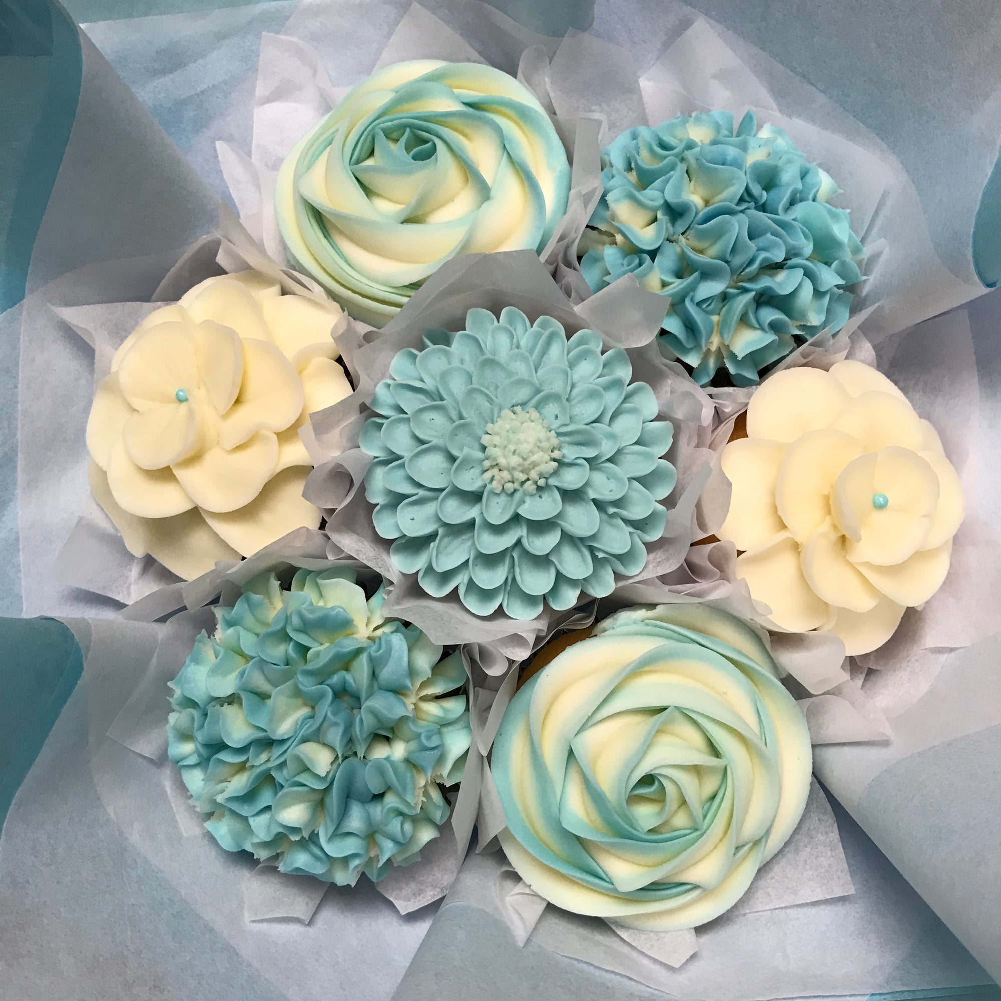 Baby blue cupcakes edible floral desserts cupcake bouquets cupcake bouquets shop faqs about delivery contact baby blue izmirmasajfo Choice Image