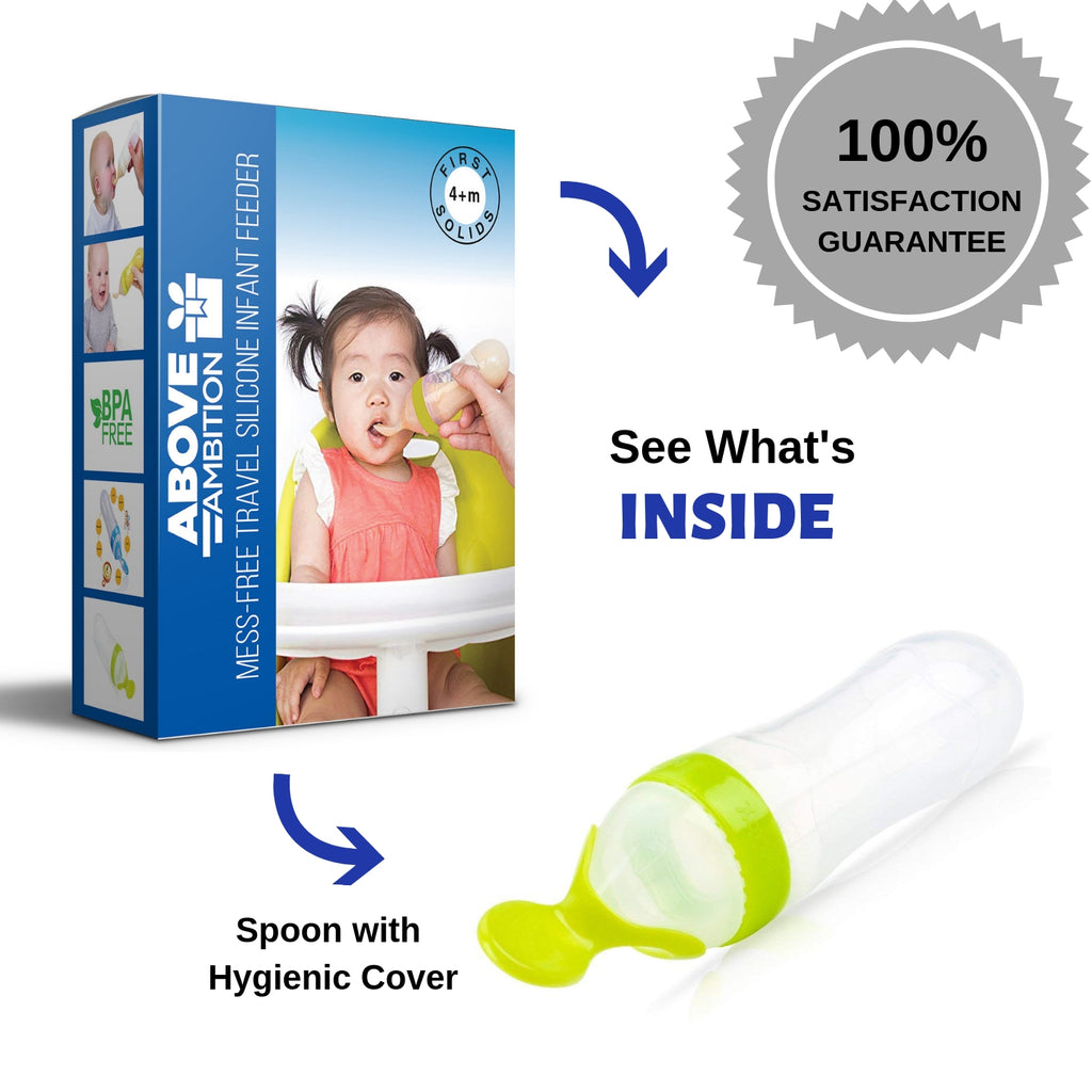 Mess-Free Travel Silicone  Infant Feeder with Spoon and Hygienic Cover