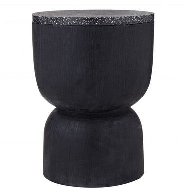 Black Terrazzo hourglass Side Table/Stool