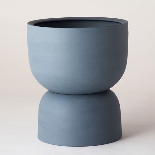 Raw Earth Plant Stand Pot - Slate Blue