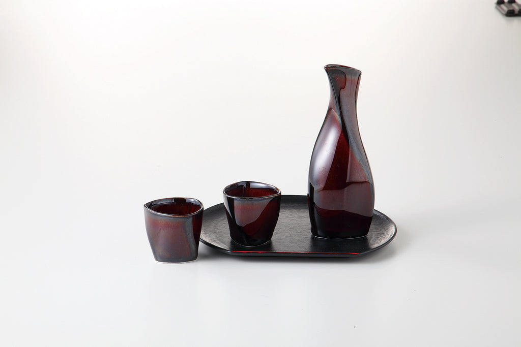 URUSHI BROWN Cold Sake Carafe Set with Tray 54-52-41