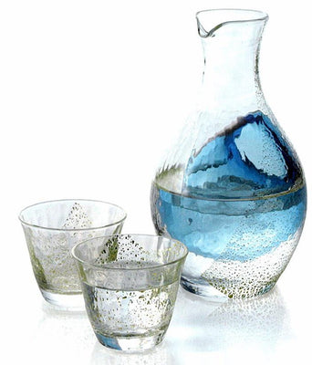 Handmade Ice Pocket sake Carafe Set KINPAKU