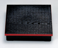 8.5 Sun Black SHOKADO Bento Box with Red Edge - Cross-shaped Type