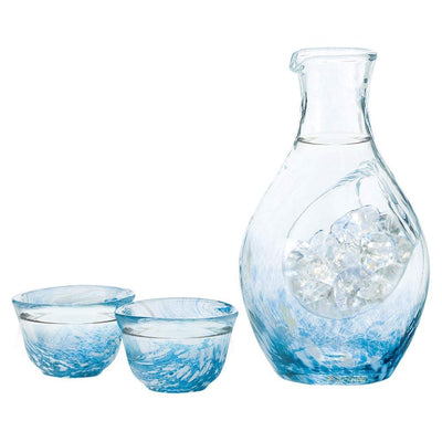 Handmade Ice Pocket sake Carafe Set SkyBlue