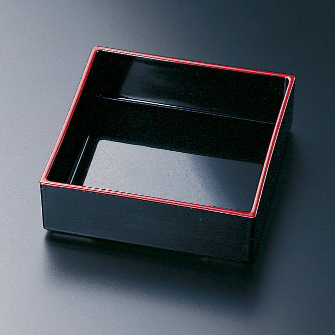 ABS Black Square Bowl with Red Edge for Bento Box