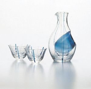 Handmade Ice Pocket sake Carafe Set ClearBlue