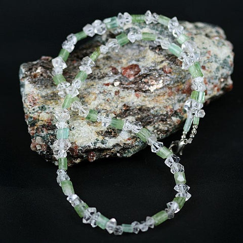 Natural Herkimer Quartz & Tourmaline Bead Necklace