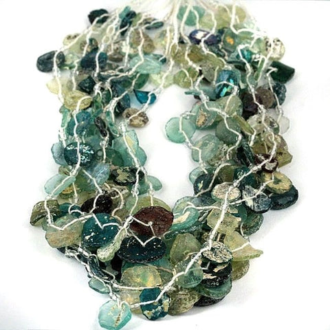 Reworked Old Glass Beads High Patina Disc Shape