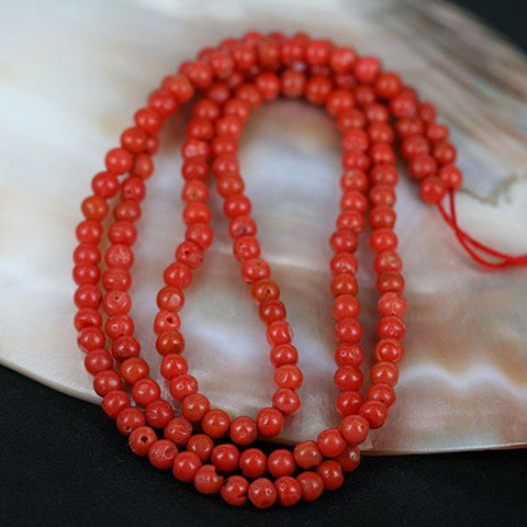 African Traded Coral Bead Str. 3-4mm