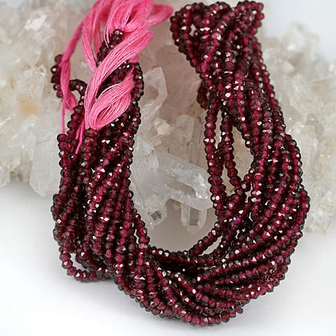 Garnet 3mm Facet Cut Gemstone Bead Str.