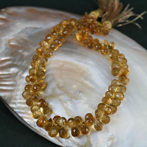 High Grade Citrine Gemstone Beads Faceted Briolette Drop