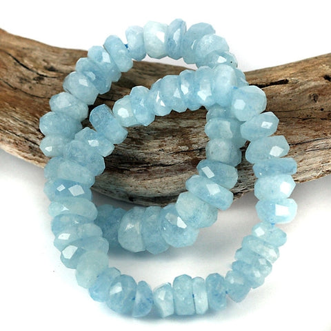 Blue Aquamarine Rough Facet Cut Gemstone Bead Bracelet