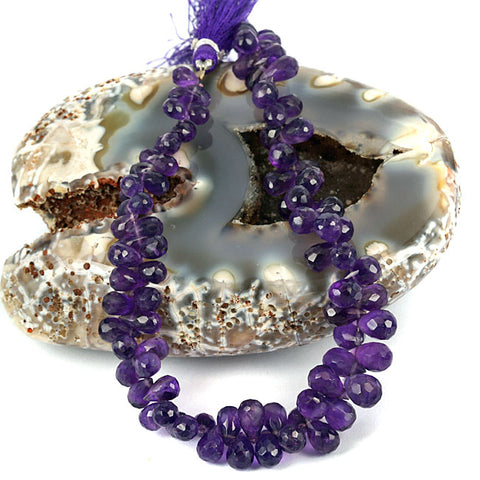 Purple Amethyst Gemstone Beads - Facet Cut Briolette Drop