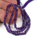 Purple African Amethyst Gemstone Beads - 3mm Facet Cut Rondel