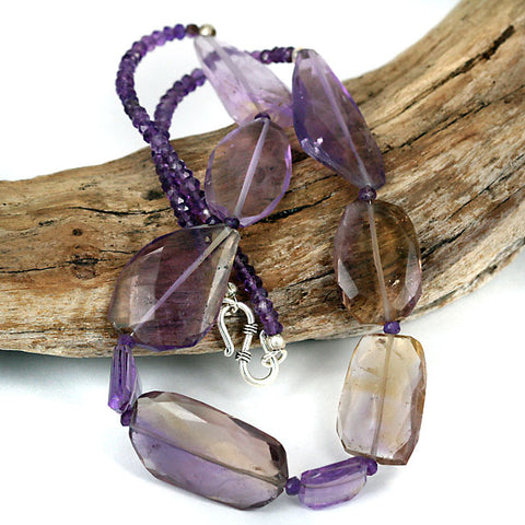 Amethyst & Ametrine Gemstone Bead Necklace
