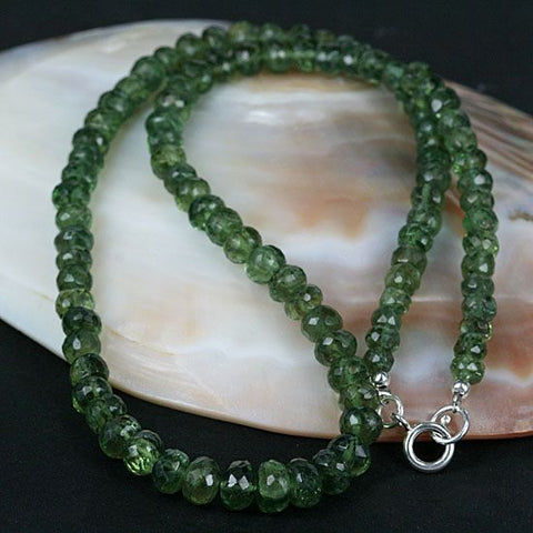Natural Green Apatite Gemstone Bead Necklace - Untreated Real Gemstone