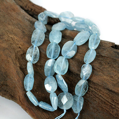 Blue Aquamarine Gemstone Beads - 16 Inch Str. Real Zambian Mined Aquamarine
