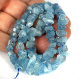 Blue Aquamarine Rough Facet Cut Gemstone Bead Str.