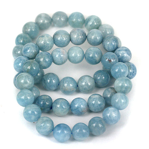 Zambian Blue Aquamarine 11mm Gemstone Bead Bracelet