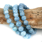 Zambian Blue Aquamarine Gemstone Bead Bracelet 8mm