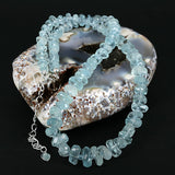 High Grade Aquamarine Rough Facet Slice Gemstone Bead Necklace