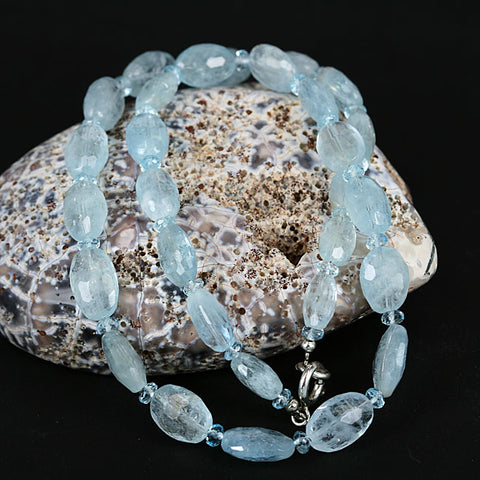 Zambian Aquamarine Gemstone Bead Necklace 19 Inch Length