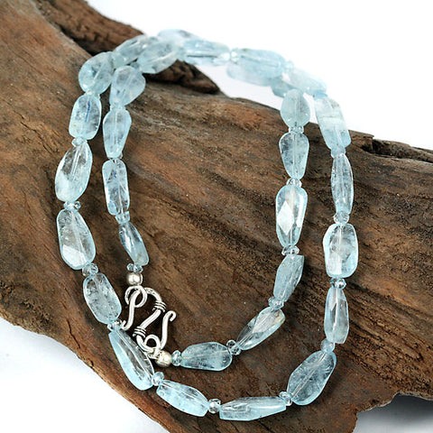 Real Zambian Aquamarine Gemstone Bead Necklace - Finely Cut 19 Inch length
