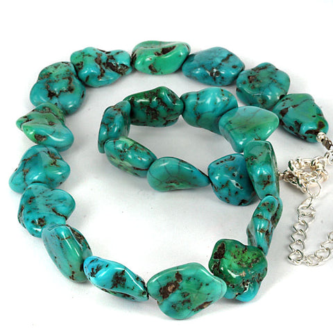 Real Arizona Turquoise Gemstone Bead Necklace