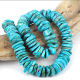 Big Turquoise Gemstone Rondel Beads USA Arizona