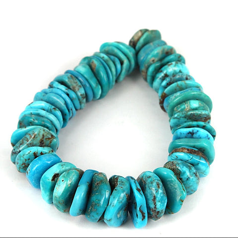 Turquoise Gemstone Rondel Beads. Arizona Kingman Mined