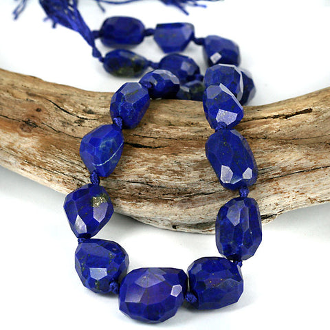 AAA High Grade Large Chunky Natural Lapis Lazuli Facet Cut Beads