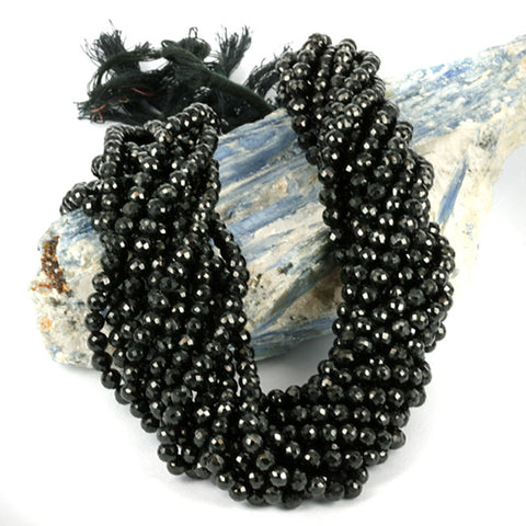 Round Faceted Black Spinel 4.5mm Gemstone Beads