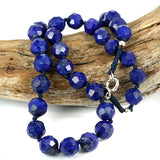 High Grade Afghan Lapis Lazuli Bead Necklace - Knot Worked