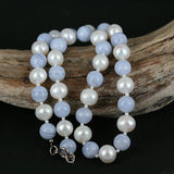 Real Blue Lace Agate & Pearl Bead Necklace