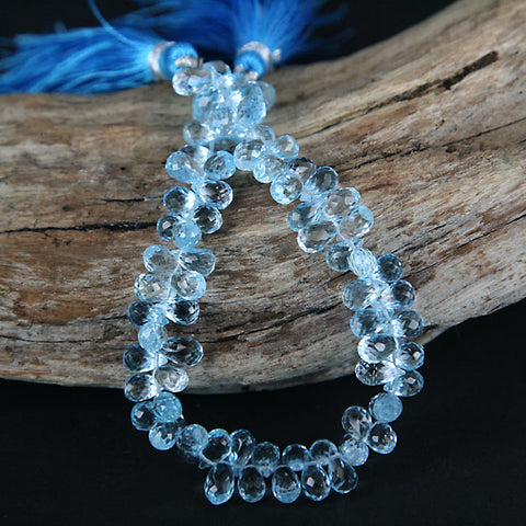 Blue Topaz Brio Drop Gemstone Beads 6 - 7mm