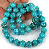 Real Blue Turquoise Gemstone Beads 10mm - USA