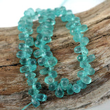 Petite Apatite Facet Drop Gemstone Bead Str - Small 5mm Briolette Drop Shape