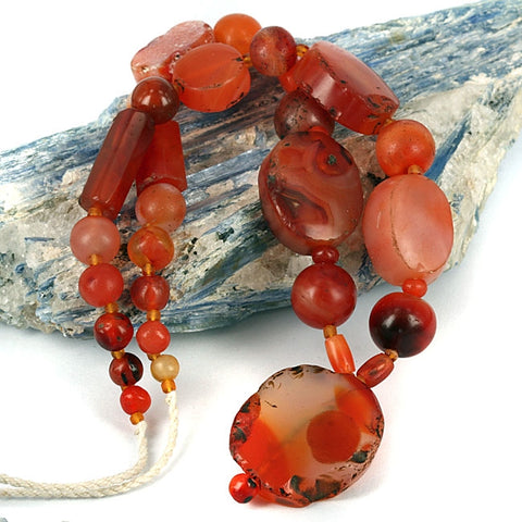 Red Agate Beaded Necklace Vintage Red Carnelian Agate Chip Necklace Carnelian Agate Beaded Necklace