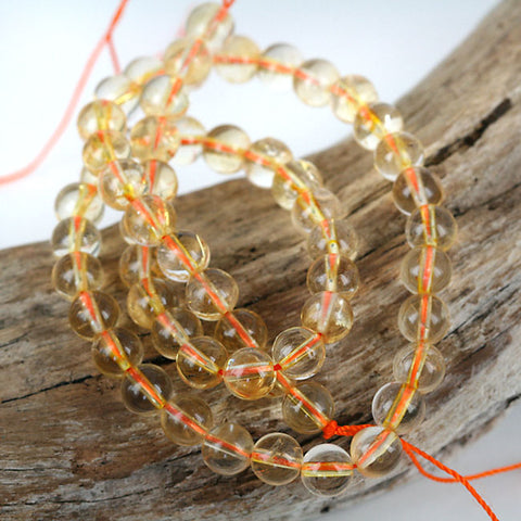 Real Citrine 7mm Gemstone Beads - 16 Inch Str. Translucent Inclusion Free.