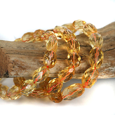 Gemmy Citrine Facet Cut Gemstone Bead Bracelet