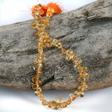 Golden Citrine Faceted Briolette Drop Gemstone Beads