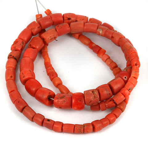 African Traded Old Coral Bead Str. 4 - 7mm