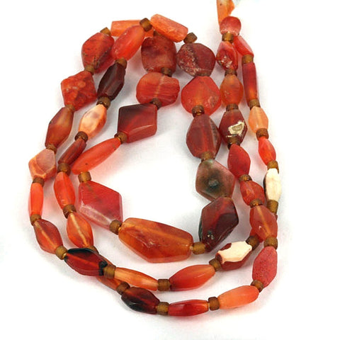 Very Old Carnelian Tabular Bead Strand