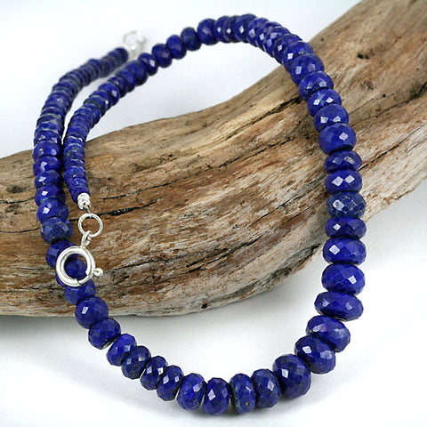Faceted Afghan Lapis Lazuli Bead Necklace