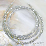 Natural Silver Diamond Gemstone Bead Str.