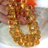 Large Golden Gem Citrine Faceted Briolette Drop Gemstone Beads
