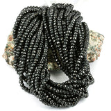 Faceted Black Spinel 4.5mm Rondel Gemstone Beads