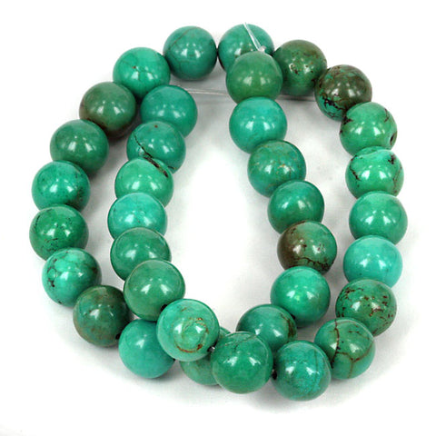 Green Turquoise Gemstone Bead Str. Impressive 11.80mm Diameter