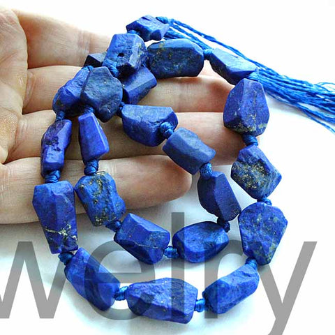 16.5/'/'Stunning Blue matte finish nugget Lazuli Lazulite with Gold Pyrite Natural Beads Strands Afghanistan L81